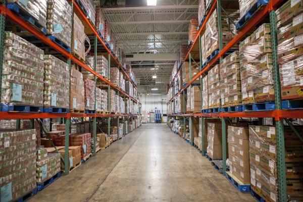 Stocked food bank warehouse