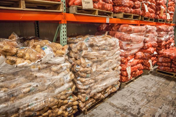Fresh produce in food bank warehouse
